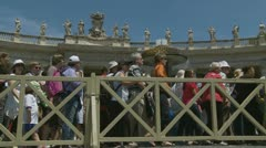 Pilgrims leave Pope's mass at St Peters (1) - stock footage