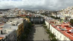 Las Palmas de Gran Canaria city skyline aerial, from roof of Sta Ana Cathedral Stock Footage