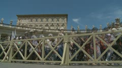 Pilgrims depart St Peters (Timelapse slowed down) Stock Footage