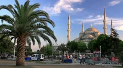 View of the Blue Mosque from Sultanahmet square Stock Footage
