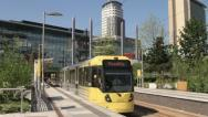 Tram station at media city, salford quays, manchester, england Stock Footage
