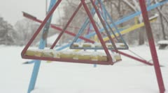 Swing seat during winter _3 Stock Footage