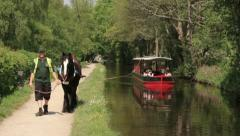 Llangollen horse drawn boat Stock Footage