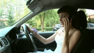 Stock Video Footage of Driver bride is talking by telephone