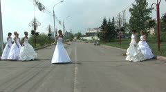 Fashion parade of 7 brides Stock Footage