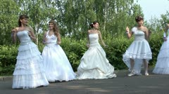 Brides are dancing rock-n-roll - stock footage