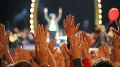 Crowd at concert (hands on air) - stock footage