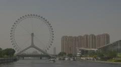 Tianjin Eye in smog, Tianjin, China Stock Footage