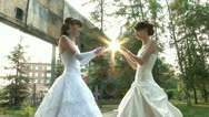 Stock Video Footage of 2 brides are helding a sun (static)