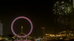 Tianjin Eye fireworks Tianjin China landmark night party New Years Eve icon fun Stock Footage