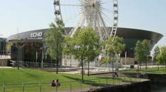 the echo arena and ferris wheel of liverpool - stock footage