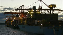 container ship at sunset - stock footage