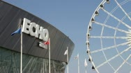 The echo arean ferris wheel of liverpool Stock Footage