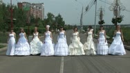 Stock Video Footage of 9 brides are walking forward
