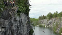 Extreme bungee jump from the rock Stock Footage