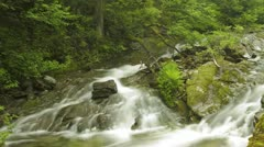 Timelapse of blurred water in river with beautiful surroundings Stock Footage
