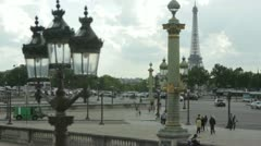 View of the Eiffel Tower from place de la Concorde, Paris, France Stock Footage