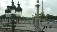 Stock Video Footage of View of the Eiffel Tower from place de la Concorde, Paris, France