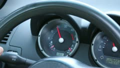 Car RPM Tachometer, fuel level, engine temperature Stock Footage