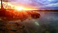 Landscape with sunset on the river bank. Stock Footage