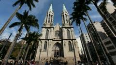 4K UHD CATEDRAL DA SE - Sao Paulo / Metropolitan Cathedral Brazil time lapse Stock Footage