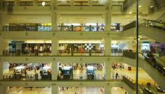 Shopping mall view from an elevator Stock Footage