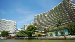 Bangkok, Tailand from river Stock Footage