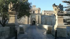 The main gate of Mdina Stock Footage