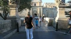 The main gate of Mdina Stock Footage