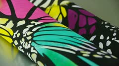 Silk fabric,butterfly pattern. Stock Footage