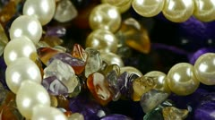 Gorgeous gemstones jewelry,pearl necklace. Stock Footage