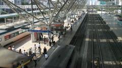 Passengers on the platform of Seoul station Stock Footage
