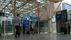 Passengers in Seoul Station passage Stock Footage