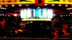 Surreal Night Carousel At Carnival SloMo (Dark) Stock Footage