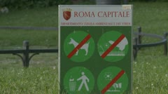 (Capitale Roma - 2) No dogs, stay off the grass,  littering,  picking flowers, Stock Footage