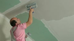 Stock Video Footage of Plasterer At Work