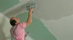 Plasterer At Work - stock footage