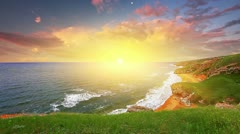 Sunset in the bay of the sea Stock Footage