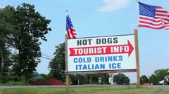 Tourist Info Sign Along Country Road Stock Video Stock Footage