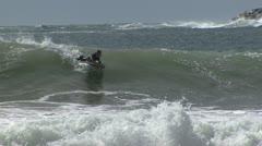 Bodyboarding in surf Stock Footage