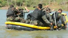 Men Paddling raft (HD)m - stock footage