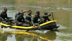 Men Paddling raft (HD)m Stock Footage
