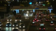 Stock Video Footage of Heavy traffic by night in Shenzhen, China