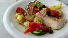 Meal of fish on a plate Stock Footage