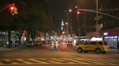 Stock Video Footage of Traffic at night on Broadway