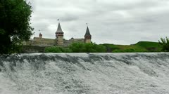 Small Waterfall and Medieval Castle Stock Footage