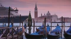 Italy, Venice, cruiseship, gondolas Stock Footage