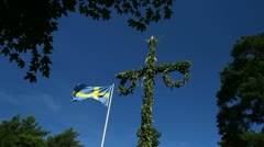 Mid summer pole and Swedish flag Stock Footage