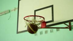 Ball gets into the hoop Stock Footage