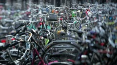 Holland, Amsterdam, bicycle park Stock Footage